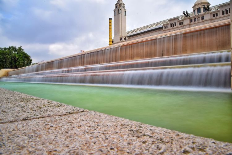 EyeEm Best Shots EyeEmNewHere EyeEm Nature Lover EyeEm Selects EyeEm Gallery BCNfoto Barcelona Montjuic Long Exposure Water Larga Exposicion City Water Bridge - Man Made Structure Long Exposure Cityscape Business Finance And Industry Sky Architecture Building Exterior Built Structure Fountain