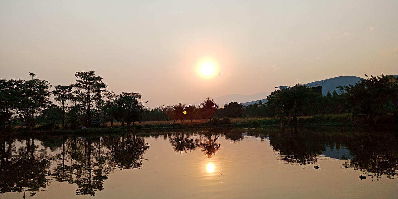 Tree Water Sunset Astronomy Lake Multi Colored Sun Reflection Silhouette Tropical Climate