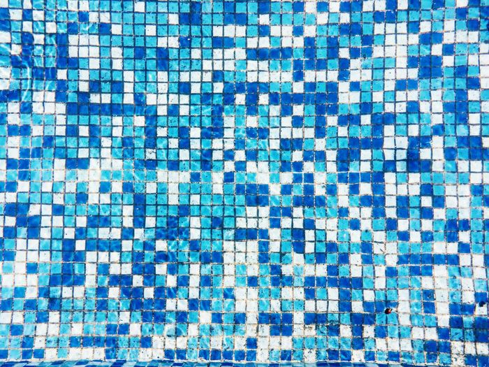 Abstract Backgrounds Blue Close-up Day Design Detail Full Frame Geometric Shape Modern Multi Colored No People Pattern Pattern, Texture, Shape And Form Pool Tile Repetition Side By Side Textures Textures And Surfaces Tile Tiled Tiles