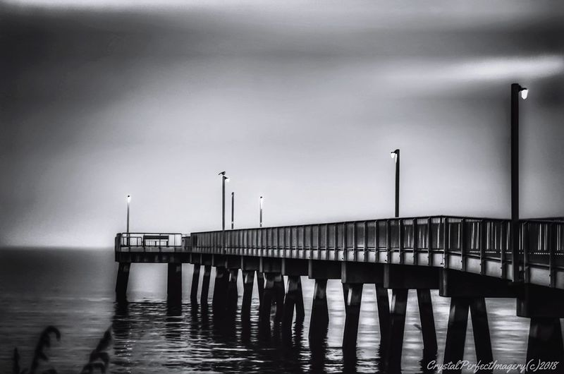 Pier Lights Pilings Bench Water Harbor Sea Wooden Post Commercial Dock Pier Sky Shore Foggy Waterfront Calm Rippled Horizon Over Water
