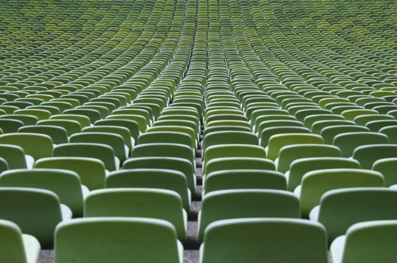Full frame shot of empty bleachers in stadium