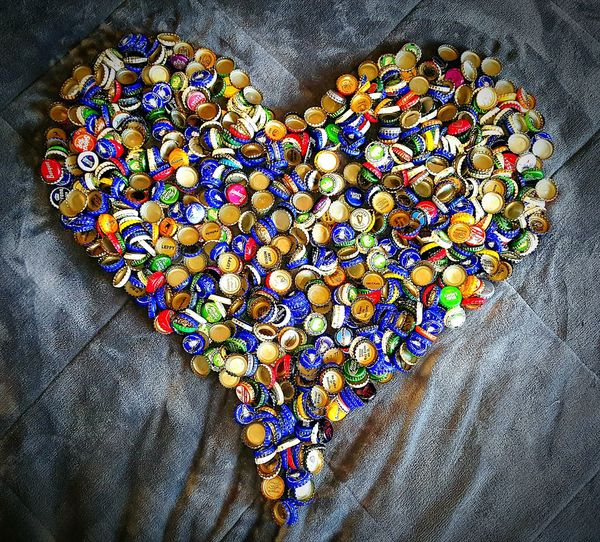 Heart Shape Multi Colored Love Abundance Bootle Caps Beer Big Sky Brewery Bottle Caps Art Art