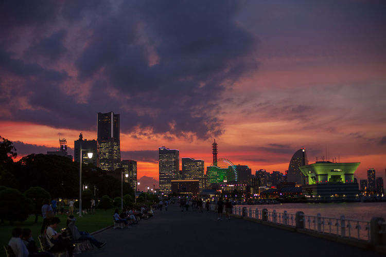 Yokohama Architecture Bayside Building Building Exterior Built Structure City Cityscape Cloud - Sky Crowd Financial District  Illuminated Landscape Modern Nature Office Building Exterior Outdoors Sky Skyscraper Sunset Tall - High Tower Water