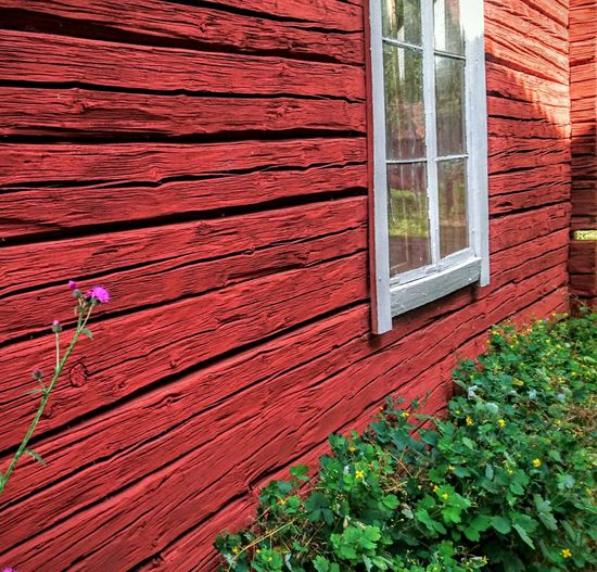 This Is Sweden Europe European Union Window Old House Timbered House Flower Green Red My Unique Style Architectural Feature Architectural Detail Old Ways Built Structure Countryside Structure No People Still Life Check This Out Home Is Where The Art Is Craftsmanship  Wood Wood - Material Color Of Life Darmell Rural Collection