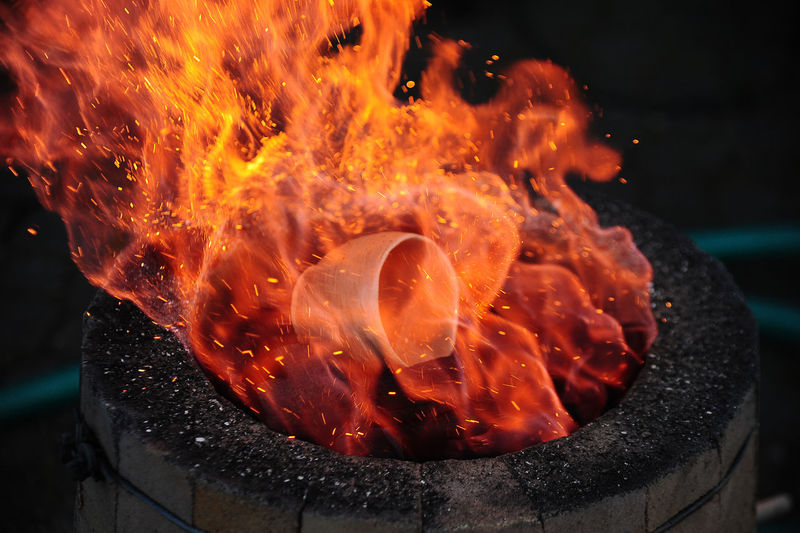 High angle view of burning fire