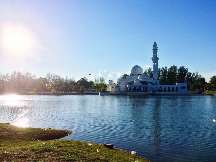 A good place to calm our mind Religion Spirituality Water Mosque Muslim❤️ Pray To Allah Built Structure Architecture Travel Destinations Outdoors Day Tree No People Sky Clear Sky Building Exterior Lake Nature Beauty In Nature EyeEmNewHere