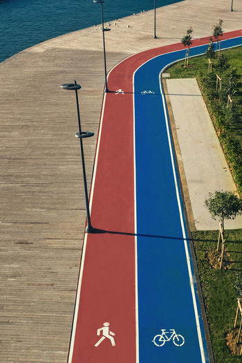 Day Sport Blue Nature No People High Angle View Outdoors Sunlight Absence Water Basketball - Sport Grass Land Playground Field Sky Plant Shadow Running Area Sea Side Bosphorus Karaköy Istanbul Empty New