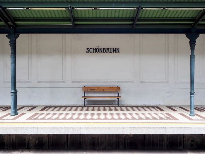 Ausstieg Rechts Bench EyeEmNewHere Waiting Empty Nobody Platform Schönbrunn Seat Subway Train Station The Architect - 2018 EyeEm Awards