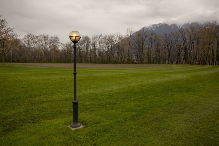 Street Lamp on the Green Field with Bare Trees and Mountain Tree Bare Tree Beauty In Nature Cloud - Sky Day Field Grass Green Color Grey Sky Illuminated Land Landscape Lighting Equipment Mountain Nature No People Overcast Plant Scenics - Nature Sky Street Light Swiss Alps Tranquil Scene Tranquility Tree
