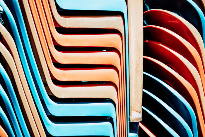 Backgrounds Beautifully Organized Chairs Day Full Frame In A Row Indoors  No People Repetition Seat Stacked Chairs
