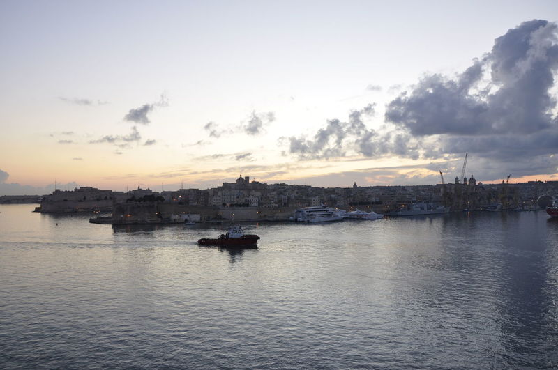 Boat Cloud Cruise Harbor Malta Mediterranean  Nature Nautical Vessel Outdoors Sailing Sea Port Seascape Ship Silhouette Sky Sunrise Tranquil Scene Traveling Water Waterfront