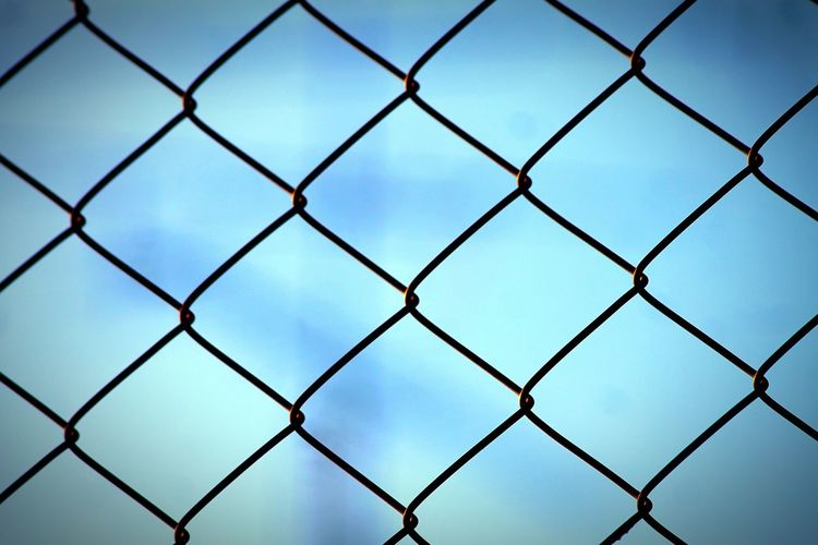 Pattern No People Full Frame Shape Backgrounds Sky Close-up Outdoors Day Horizontal Interlink Wire Interlink Wire Mesh Pattern, Texture, Shape And Form