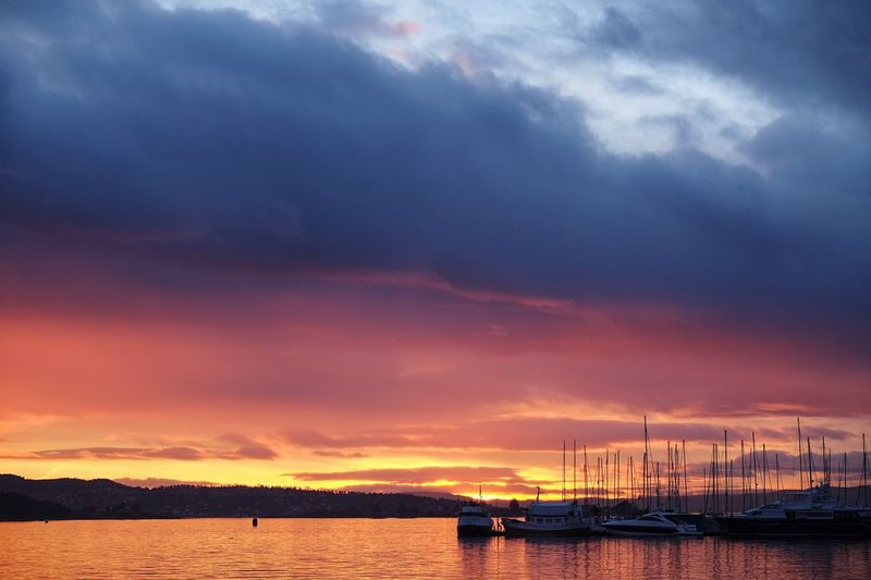 Cloud - Sky Sky Water Sunset Sea Nature Scenics Beauty In Nature Nautical Vessel Tranquility Waterfront Mode Of Transport Moored Outdoors Tranquil Scene No People Transportation