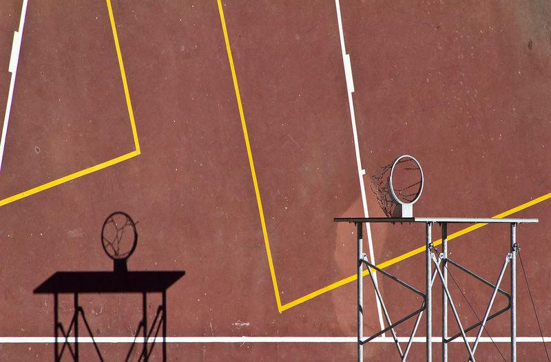High Angle View Of Basketball Hoops