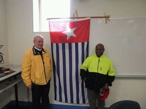Two People Indoors  Standing West Papua Flag West Papua Politic Of Freedom West Papua Want To Free Of Indonesia Colonial. West Papua People Papua Free Of Indonesia Colonial West Papua Men