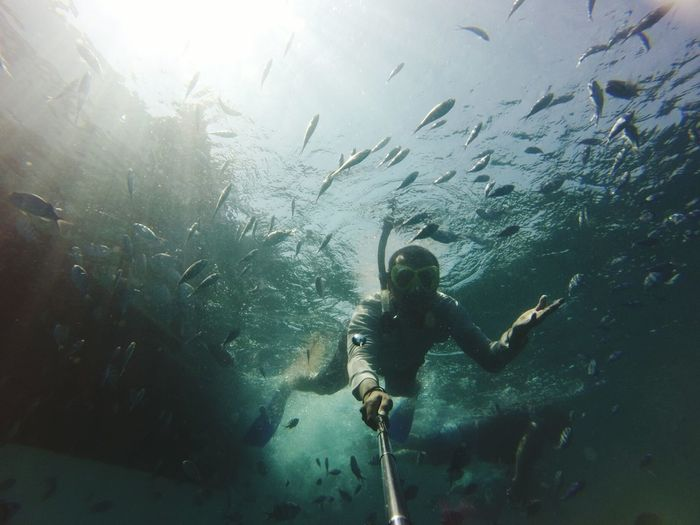 Man Snorkeling In Sea