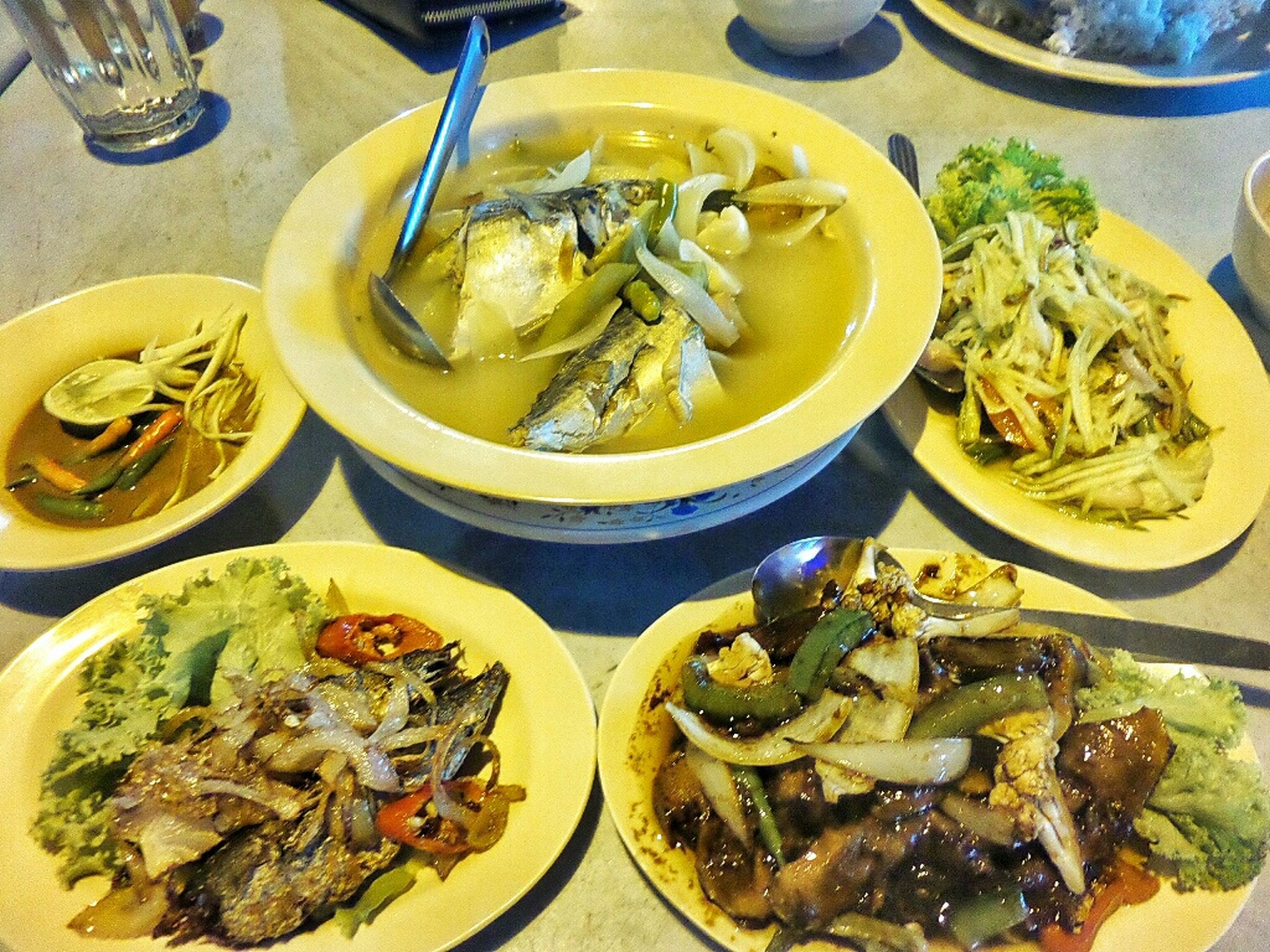 food and drink, food, indoors, freshness, ready-to-eat, healthy eating, meal, plate, bowl, still life, noodles, serving size, seafood, high angle view, close-up, table, vegetable, meat, prawn, pasta