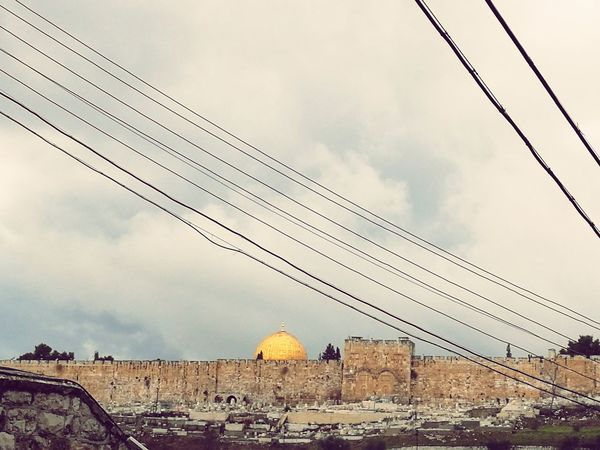 Middle East Mosque Dome Of The Rock Jerusalem Old City City Telephone Line Cable Sky Architecture Built Structure Cloud - Sky Civilization Place Of Worship Old Ruin Archaeology Ancient Ancient Civilization Power Line