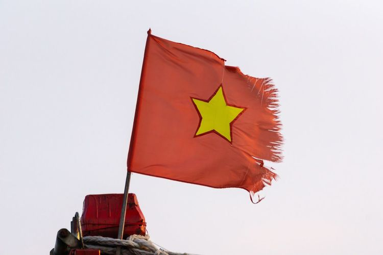 Classic Vietnam flag. Country Patriotism Vietnam Clear Sky Copy Space Country Flag Defective Flag Independence National Flag Nature No People Old Outdoors Patriotism Pole Red Shape Sky Star Shape Symbol Waving White Background Wind