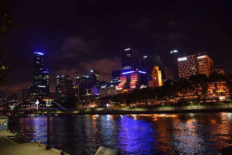 The city beyond the Yarra River Architecture Building Exterior Cityscape Illuminated Night River Water Waterfront