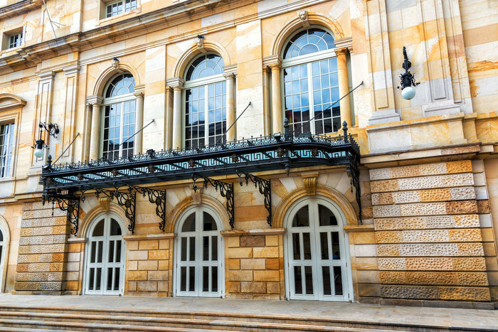 Facade of the Colon Theater in the historic center of Bogota, Colombia Architecture Avenue Beautiful Bogotá Building Capital Center City Cityscape Colombia Colon Theater Country Culture Destination Downtown Metropolis Neoclassical Skyscraper South America Stone Street Theater Tourism Travel Urban