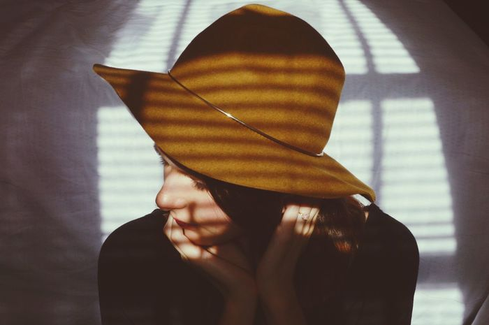 Innocent Sweet Love Calm Sunlight Open Window Bedroom Portrait Of A Woman Shadows & Lights Woman Close-up Dark Hair Minimalism Hat Fashion Fashion Photography Edgy Beautiful Bed Portrait Simple