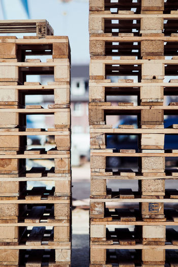Abundance Architecture Arrangement Close-up Day Focus On Foreground In A Row Indoors  Large Group Of Objects No People Order Pallet Pallets Pattern Plank Rack Side By Side Stack Still Life Wood - Material