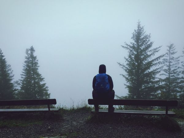 Norway Foggy Hike Benches Loneliness Hilltop Lost Peaceful Tranquility In Thought No Visibility Rear View Nature Weather Bench One Person Outdoors EyeEmNewHere EyeEmNewHere Live For The Story Breathing Space Lost In The Landscape
