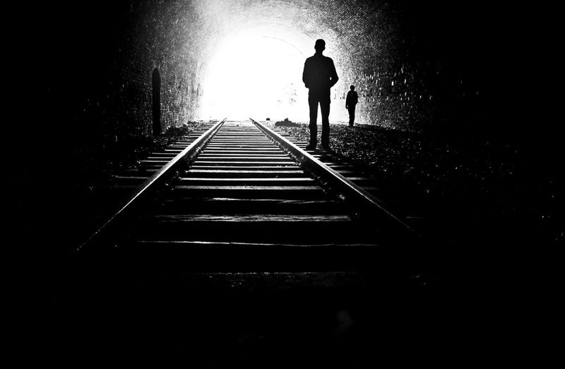 Rail way to nowhere Bw_collection Light At The End Of The Tunnel Tunnel EyeEm Best Shots - People + Portrait