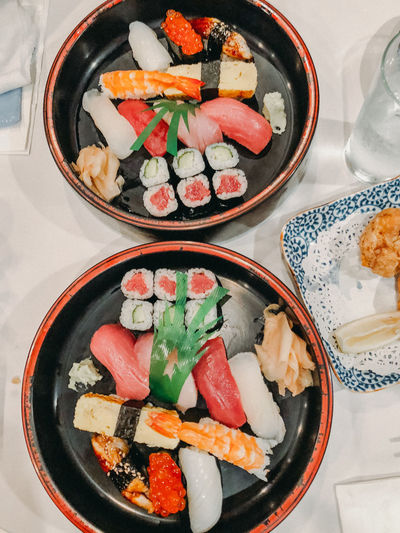 Raw Asian Food Bowl Caviar Directly Above Food Food And Drink Freshness Garnish Healthy Eating High Angle View Indoors  Japanese Food No People Plate Raw Food Ready-to-eat Rice Seafood Serving Size Still Life Sushi Table Temptation Wellbeing
