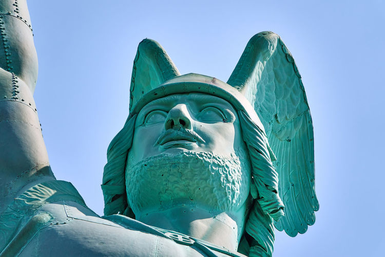 Detail of the head of the hermann monument near detmold, germany, view from below