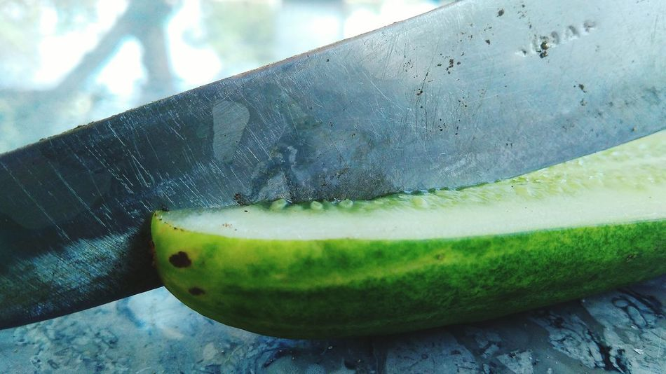 Cucumbers and knives Food And Drink Green Color Food Outdoors Indonesia_photography Mobail Photo Kuninganjabar Microphotography Indonesian Food Kuningan
