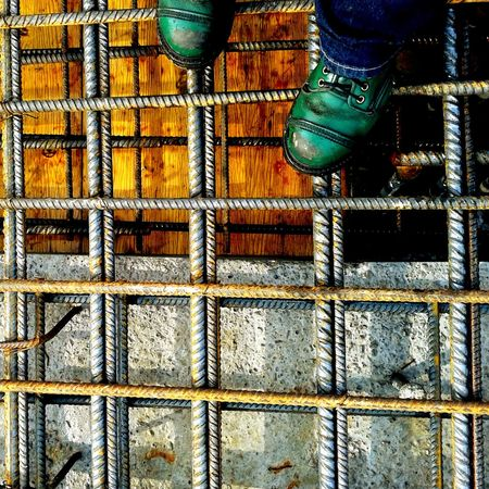 Full Frame Metal Backgrounds Day Outdoors Textured  No People Close-up Architecture Low Section Reinforcements Reinforcement Bar Building Structures Green Shoes Steel Concrete And Wood