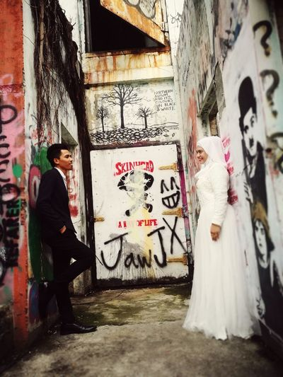 Wedding Art Photography City Painted Image Street Art Graffiti Spray Paint Full Length Architecture Building Exterior Built Structure