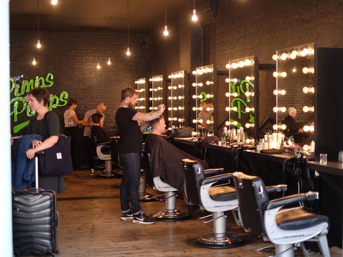 Mid Adult Mid Adult Men Adult People Friendship Barbershop Hairstylist Haircut Oldspitalfieldsmarket Men Adults Only Togetherness Happy Hour Enjoyment Lifestyles Standing Young Men Indoors  Weekend Activities Cheerful Full Length Only Men
