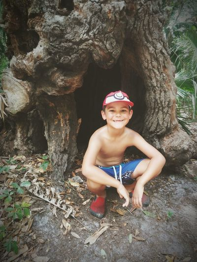 Woods Child One Person Children Only Tree Happiness Nature Childhood Smiling Shirtless Outdoors Happiness Nature Love ♥ Grass Hike Fossli Fossil Digging Peace River Tree Trunk