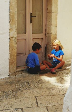 Child Boys Two People Vacations Childrensphoto Childrenphotography Children At Play Puglia, Italy Italy🇮🇹 Puglia South Italy Real People Locorotondo Togetherness Children Only Door