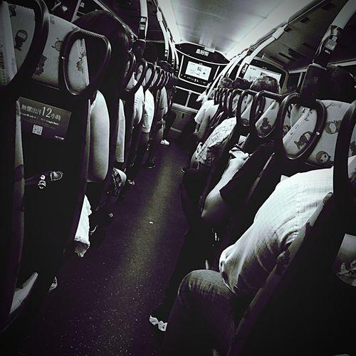 DailyLifeOfStrangers On The Bus Blackandwhite