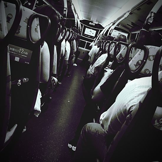 DailyLifeOfStrangers On The Bus Blackandwhite
