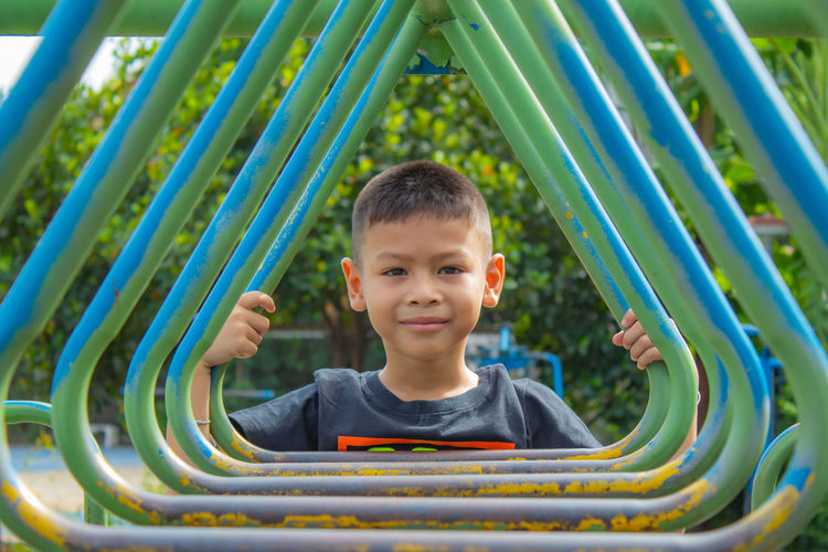 Portrait of smiling boy at playground