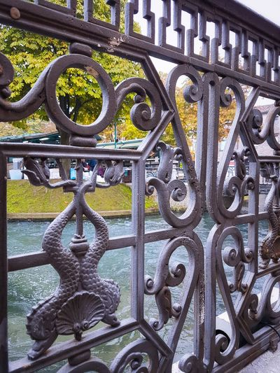 Metal Cast Iron Railings Pattern Outdoors Full Frame Close-up