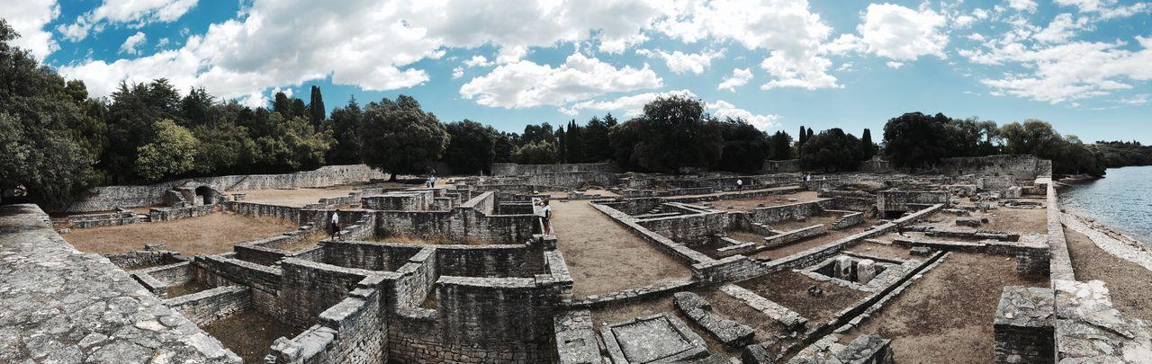 Old ruins against sky at brijuni