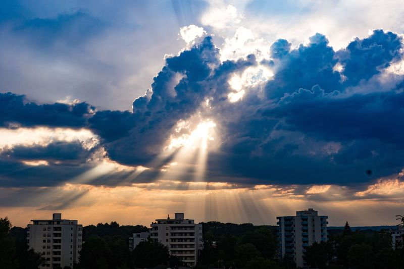 Architecture Building Exterior City Built Structure Cloud - Sky Cityscape Sky Sunlight Urban Skyline Building Story Skyscraper Tall - High Sunbeam City Life Tower Cloud Cloudy Outdoors Cloudscape Scenics