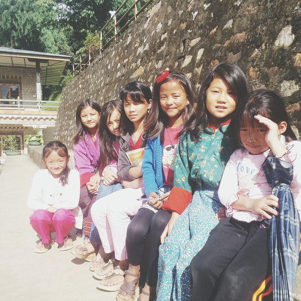 Beautiful Girls ♥ Pretty♡ Smile ✌ Enjoying Life Children Girls Hanging Out at Kanglung Primary School School ✌