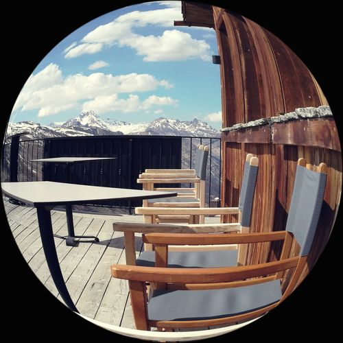 Fisheye Outdoors Landscape Capture The Moment Winter Landscape Tranquil Scene Taking Photos Eye4photography Day No People Table Sky Tranquility Emptyseats Empty Chair Mountains Mountain View Blue Sky Scenics