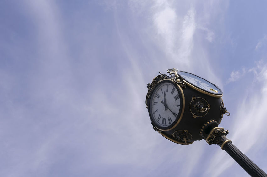 Antique Bucarest Clock Clock Face Cloud - Sky Hour Hand Low Angle View Old-fashioned Retro Styled Sky Time