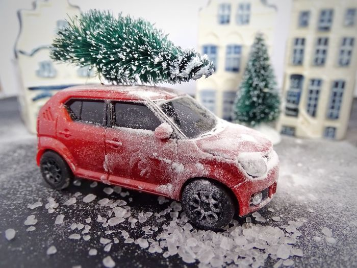 Car Land Vehicle Transportation Mode Of Transport Stationary Street Weather Day Focus On Foreground Winter Snow Road Red Close-up Toy Car Outdoors No People Building Exterior Snowing Architecture Miniature Miniature Photography Suzuki Suzuki Ignis Dutch House