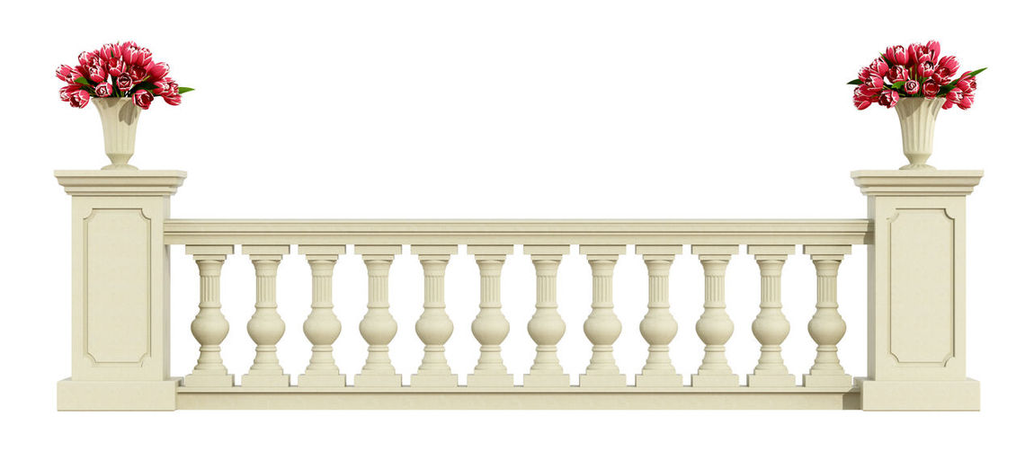 Close-Up Of Balustrade Against White Background