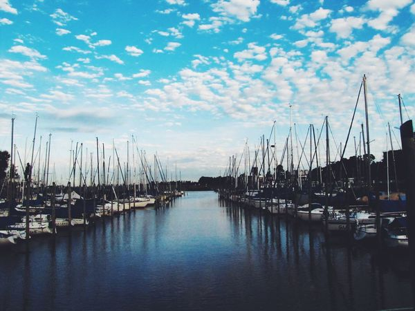 Nautical Vessel Moored Transportation Harbor Sky Water Mast Mode Of Transport Boat Marina Reflection Sea Cloud - Sky Sailboat Tranquility Travel Destinations No People Waterfront Yacht Outdoors The Great Outdoors - 2017 EyeEm Awards Live For The Story