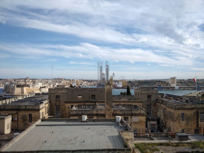 Malta Three Cities Mediterranean  Grand Harbour Architecture Built Structure Building Exterior Cloud - Sky City Cityscape Sky Building High Angle View Nature No People Residential District